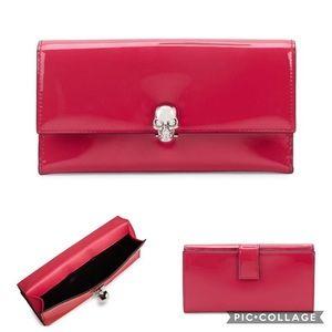 Alexander McQueen Skull Patent Leather Wallet Pink